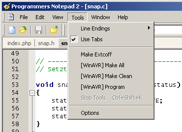Programmers Notepad > Tools